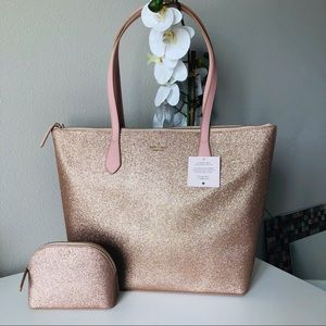 Kate Spade Joeley Rose Gold Tote & cosmetic bag